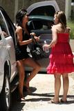 Audrina Patridge gets out of car and shows her colorful panties