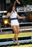 Ashanti shows her legs in white shorts as she performs on ABCs Good Morning America in New York