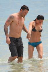 Megan Fox in blue/black bikini at the Maui beach