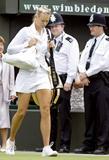 Maria Sharapova wearing new Nike outfit at 2008 Wimbledon Championships